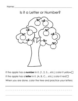 Editable! Letter and number identification coloring page.
