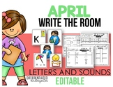 Editable Letters and Sound Write the Room - April