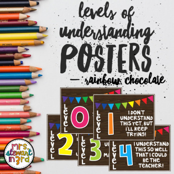 Editable Levels of Understanding Posters Rainbow Chocolate