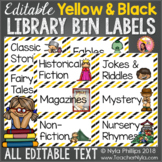 Editable Library Book Bin Labels - Yellow and Black Striped Borders