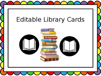 Editable Library Cards for Create Your Own Library!
