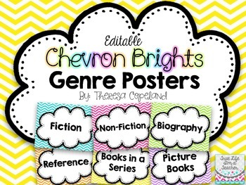 Editable Library Genre Posters {Chevron Brights}
