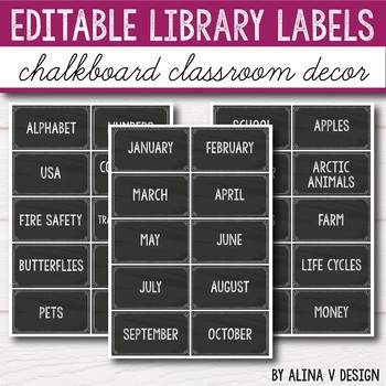 Classroom Library Labels for Bins and Books - Chalkboard EDITABLE