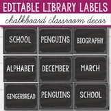 Editable Library Labels - Chalkboard Themed Classroom