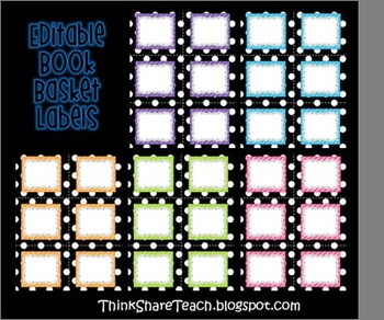 Editable Library Labels Dots and Stripes