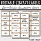 Editable Library Labels - Farmhouse Themed Classroom - Farmhouse Decor