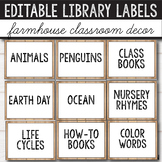 Editable Library Labels - Farmhouse Themed Classroom - Farmhouse Decor