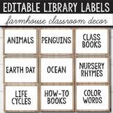 Editable Library Labels Farmhouse
