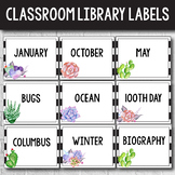 Editable Library Labels - Succulent Themed Classroom