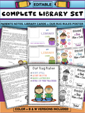 Editable Library set- Parents notes, library cards + Rug rules poster
