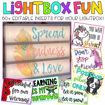 Editable Light Box Designs Set #1 (Bundle of Inserts for Standard Size Lightbox)