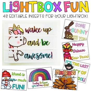 Editable Light Box Designs Set #4 (Bundle of Inserts for Standard Size Lightbox)