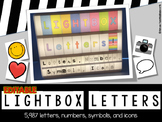 Editable Lightbox Letters, Numbers, Symbols, and icons (Large and Small)