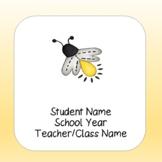Lightning Bug Firefly Theme Editable Student Binders