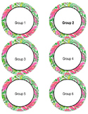 Editable Lilly Pulitzer Inspired Circle Labels
