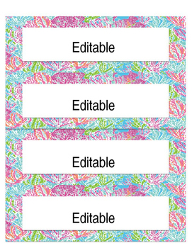 Editable Lilly Pulitzer Inspired Labels