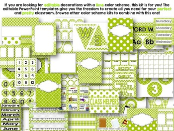 Editable Lime Class Decor Kit