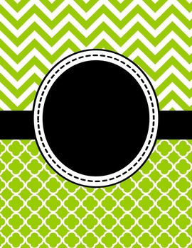 Editable Lime Green Chevron and Quatrefoil Binder Cover and Spine Label