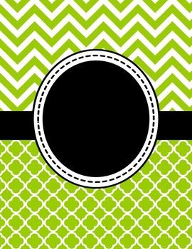 Editable Lime Green Chevron and Quatrefoil Binder Cover an