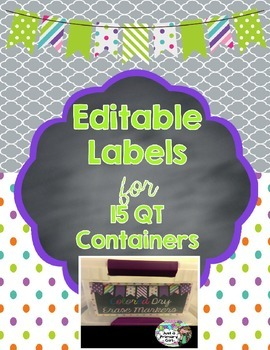 15 qt Editable Labels - lime green
