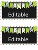 Editable Lime Green polka dot, striped bunting Container Labels