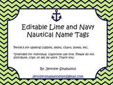 Editable Lime and Navy Nautical Name Tags