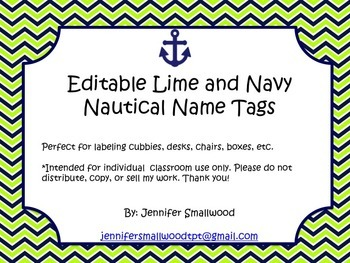 Editable Lime and Navy Nautical Name Tags