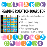 Editable Literacy Center Posters, Rotation Cards and I Can Charts