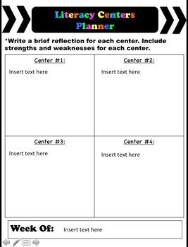 Editable Literacy Centers Planner
