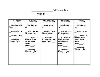 Literacy Jobs Checklist (Editable!)