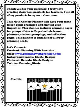Editable Literacy & Math Centers Planner Bundle