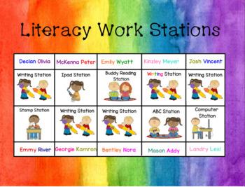 Editable Literacy Station Rotation Board