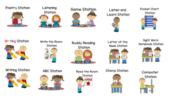 Editable Literacy Station Rotation Board