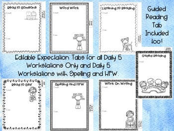 Editable Literacy Workstation Expectation Notebook Tabs