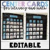 Editable Literacy and Math Center Cards
