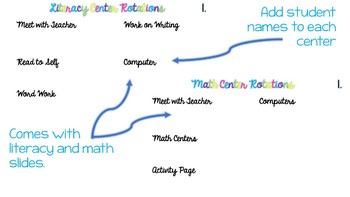 Editable Literacy and Math Center Slides Bundle