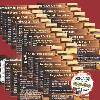 Literary Criticism Unit- Editable Lessons, Test, Group Critique, Essay + more