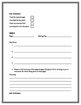 Editable Literature Circle Forms