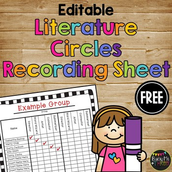 Editable Literature Circles Recording Sheet, Guided Reading, JOBS