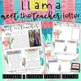 Editable Llama Meet the Teacher (+ Student Teacher) Letter