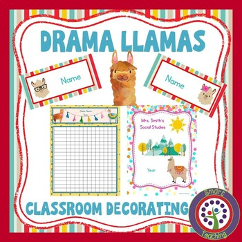Editable Llama Theme - Decorate Your Classroom Kit - Name Cards, Binder, Roster