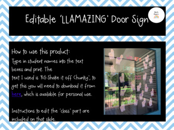 Editable Llama-zing Door Sign + Name Tags