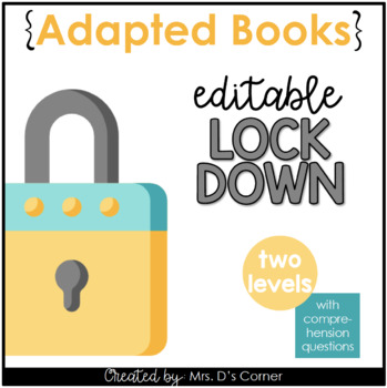 Editable Lock Down Drill Adapted Books [ Level 1 and Level 2 ] | School Drills