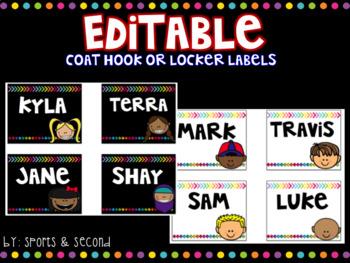 Back to School Labels {Locker/Hook} Editable Black & Bright White & Bright