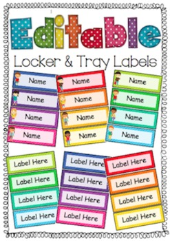 Editable Locker and Tray Labels