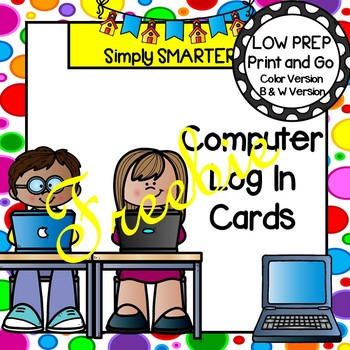 Editable Log In Cards For Computer Programs and GOOGLE CLASSROOM FREEBIE