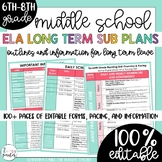 Editable Long-Term (Maternity Leave) Middle School ELA Plans and Information