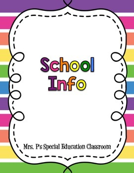 Editable Long Term Sub Tub for the Special Education Classroom