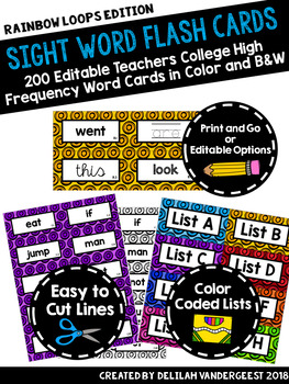 Editable Loop Sight Word Flash Cards: Teachers College High Frequency Words