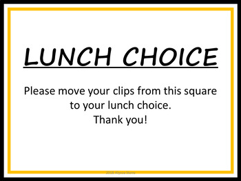 Editable Lunch Choice Clip Chart - Charlie Brown Tribute Colors